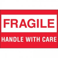 """ Fragile - Handle With Care"" Labels, 2 x 3"", White/Red"
