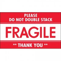 """ Fragile - Do Not Double Stack"" Labels, 3 x 5"""