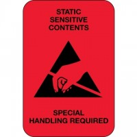 "Static Warning Labels -"" Static Sensitive Contents"", 2 x 3"""