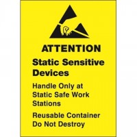 "Yellow Static Warning Labels -"" Static Sensitive Devices"", 1 3/4 x 2 1/2"""