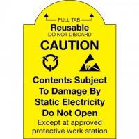 "Static Warning Labels -"" Pull Tab Reusable - Do Not Discard"", 2 x 3"""