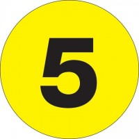 "Fluorescent Yellow Circle ""5"" Number Labels - 2"""