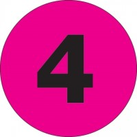 "Fluorescent Pink Circle ""4"" Number Labels - 1"""