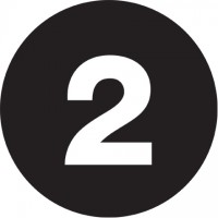 "Black Circle ""2"" Number Labels - 4"""
