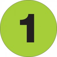 "Green Circle ""1"" Number Labels - 3"""