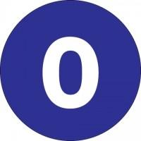 "Dark Blue Circle ""0"" Number Labels - 1"""