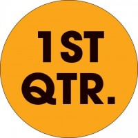 "Fluorescent Orange ""1ST QTR."" Circle Inventory Labels, 2"""