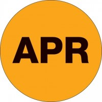"Fluorescent Orange ""APR"" Circle Inventory Labels, 2"""