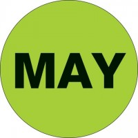 "Green ""MAY"" Circle Inventory Labels, 2"""