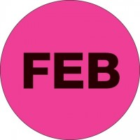 "Fluorescent Pink ""FEB"" Circle Inventory Labels, 2"""