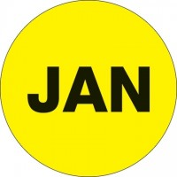 "Fluorescent Yellow ""JAN"" Circle Inventory Labels, 2"""