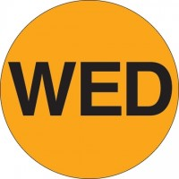 """Fluorescent Orange """"WED"""" Circle Inventory Labels, 1"""""""