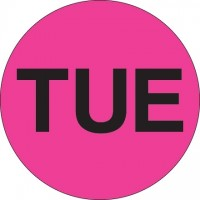 "Fluorescent Pink ""TUE"" Circle Inventory Labels, 2"""