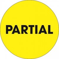 "Fluorescent Yellow ""Partial"" Circle Inventory Labels, 2"""