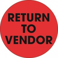 "Fluorescent Red ""Return To Vendor"" Circle Inventory Labels, 2"""
