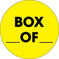 "Fluorescent Yellow ""Box ___ Of ___"" Circle Inventory Labels, 2"""