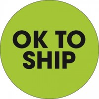 "Fluorescent Green ""Ok To Ship"" Circle Inventory Labels, 2"""