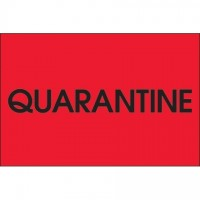 "Fluorescent Red ""Quarantine"" Inventory Labels, 2 x 3"""