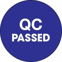 "Blue ""QC Passed"" Circle Inventory Labels, 1"""