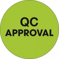 "Fluorescent Green ""QC Approval"" Circle Inventory Labels, 1"""