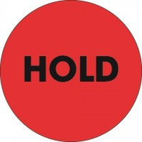 "Fluorescent Red ""Hold"" Circle Inventory Labels, 2"""