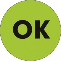 "Fluorescent Green ""OK"" Circle Inventory Labels, 1"""