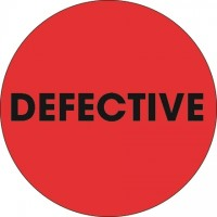 "Fluorescent Red ""Defective"" Circle Inventory Labels, 2"""