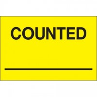 "Fluorescent Yellow ""Counted ___"" Inventory Labels, 2 x 3"""