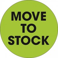 "Fluorescent Green ""Move To Stock"" Circle Inventory Labels, 2"""