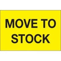 """Fluorescent Yellow """"Move To Stock"""" Inventory Labels, 2 x 3"""""""