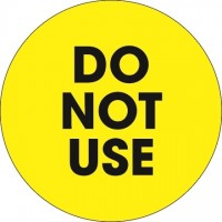 "Fluorescent Yellow ""Do Not Use"" Circle Inventory Labels, 2"""
