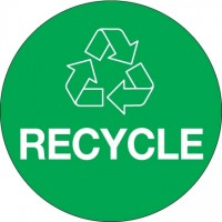 "Green ""Recycle"" Circle Labels, 3"""