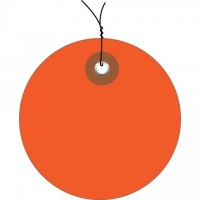 Pre-Wired Orange Plastic Circle Tags - 3""