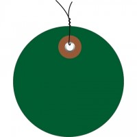 Pre-Wired Green Plastic Circle Tags - 3""