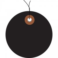 Pre-Wired Black Plastic Circle Tags - 2""