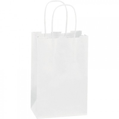 White Paper Shopping Bags, Rose - 5 1/2 x 3 1/4 x 8 3/8