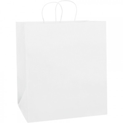 White Paper Shopping Bags, Take Out - 14 1/2 x 9 x 16 1/4