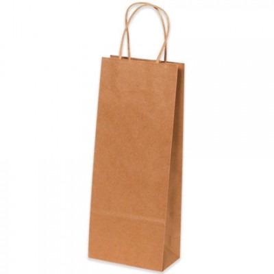 Kraft Paper Shopping Bags, Wine - 5 1/2 x 3 1/4 x 13
