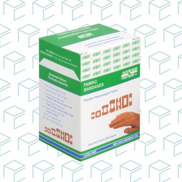 Pansements assortis en tissu - 100pk