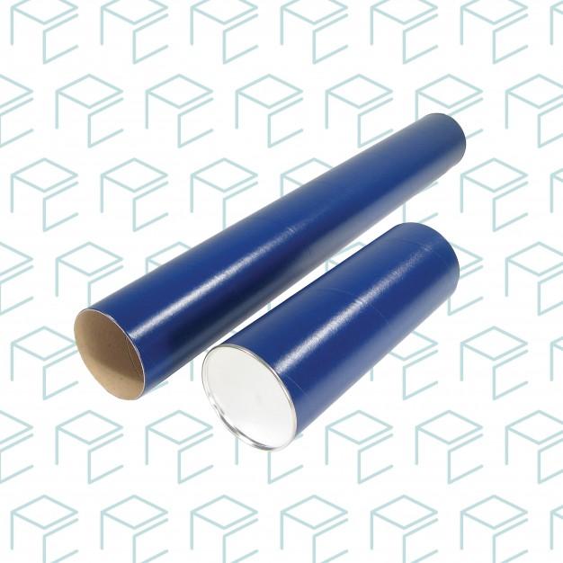 """Tubes postaux ronds bleus avec capuchons métalliques 2.5 """"X 37"""""""
